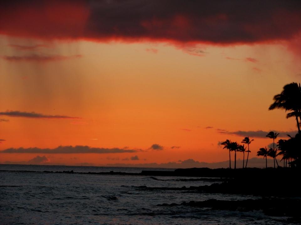foto al tramonto in Tramonto scattato sulla isola di Kauai isola delle Hawaii