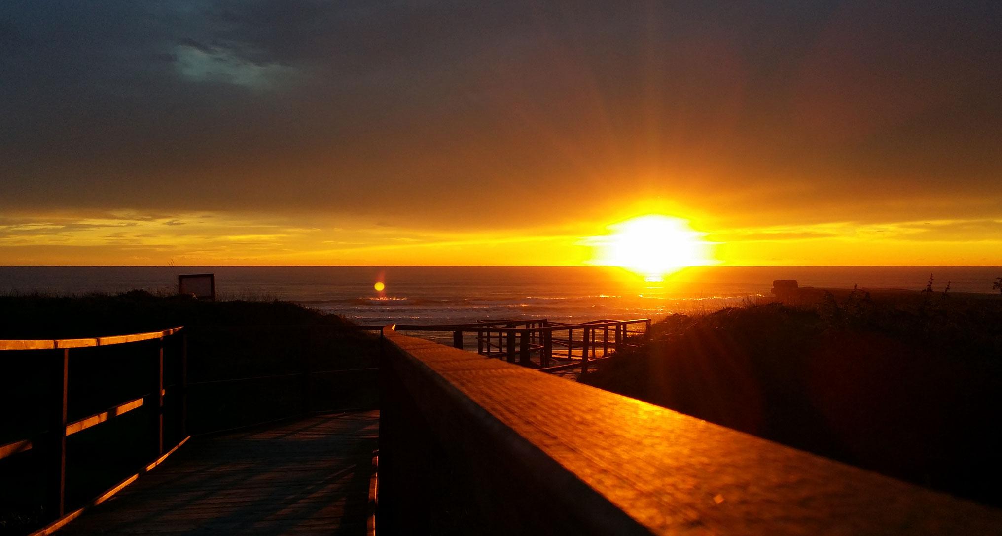foto al tramonto in Tramonto sul mare in mezzo alle dune di Sabaudia